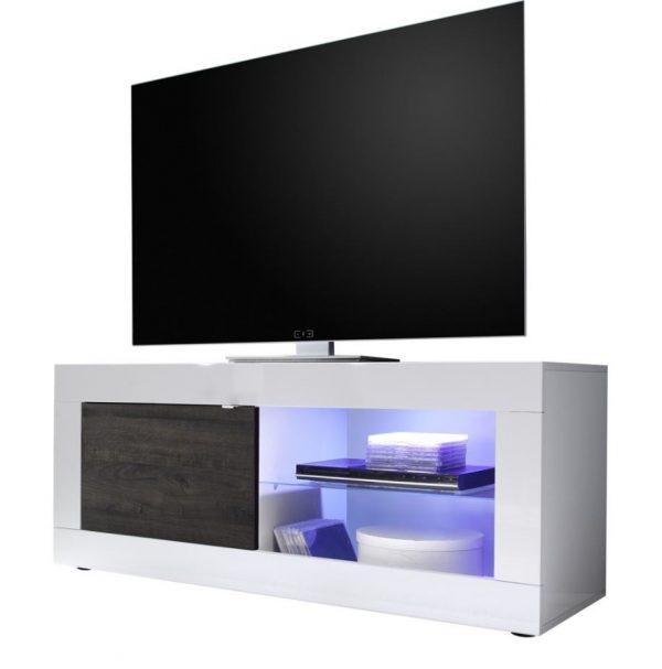 Tv meubel Tonic 140 cm - Hoogglans wit met Wenge