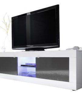 Tv Meubel Tonic 181 Cm – Hoogglans Wit Met Antraciet