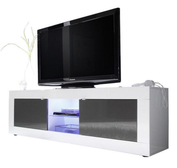 Tv meubel Tonic 181 cm - Hoogglans wit met antraciet