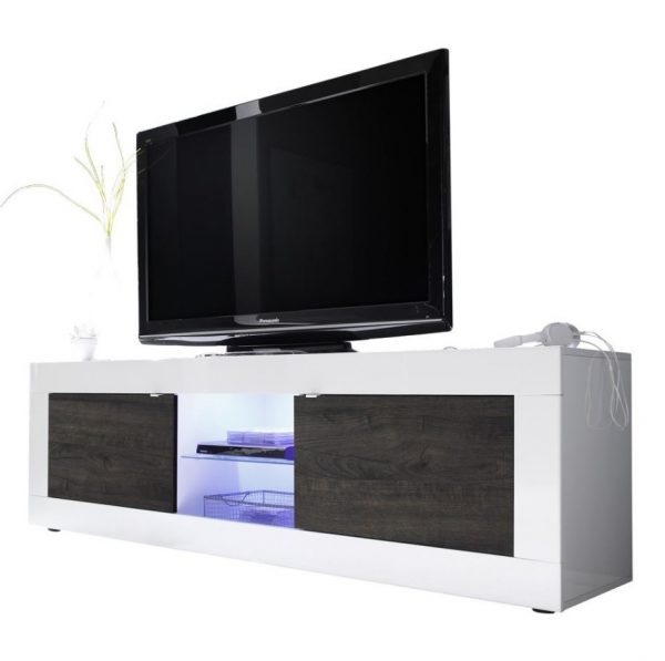 Tv meubel Tonic 181 cm - Hoogglans wit met Wenge