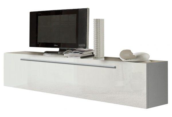 Zwevend Tv meubel Aylino 210 cm Hoogglans wit