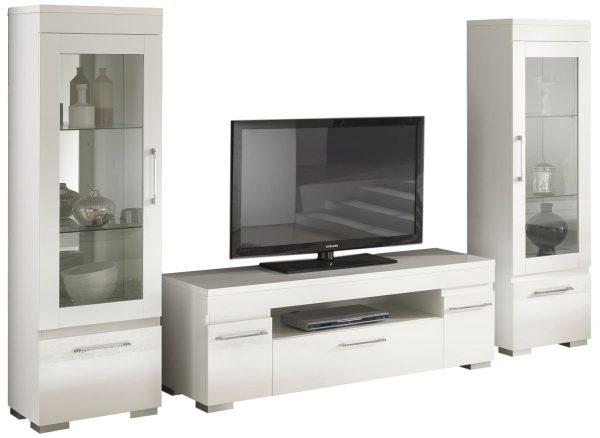 TV Wandmeubel set Kristal White - Hoogglans wit