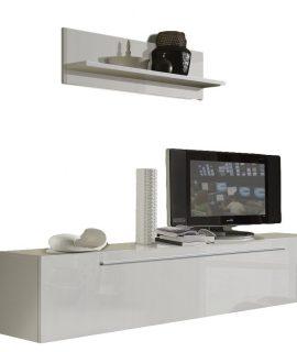 Zwevend Tv Meubel Longo 210 Cm Hoogglans Wit