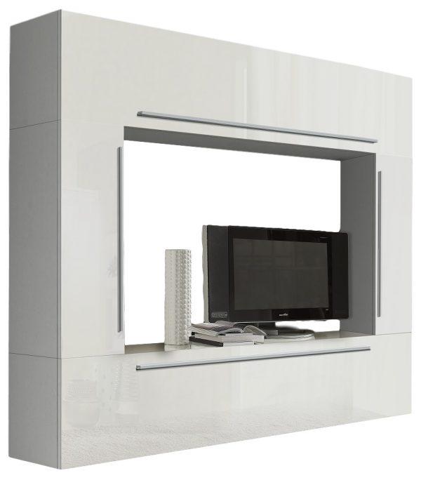 Tv wandmeubel Mirella 210 cm Hoogglans wit