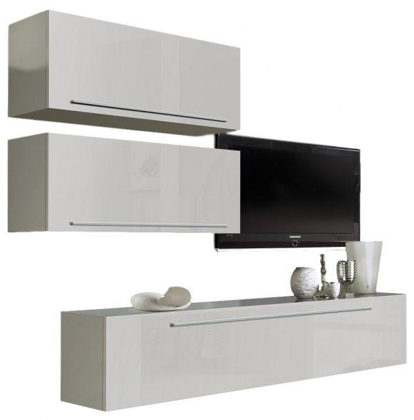 Tv wandmeubel Montego 210 cm Hoogglans wit