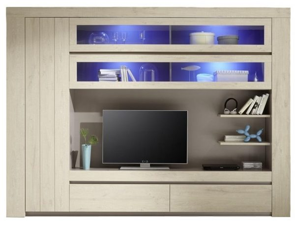 Tv wandmeubel Palmira Light 279 cm breed - licht eiken