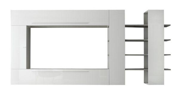 Tv wandmeubel set Astrino - Hoogglans wit met grijs eiken