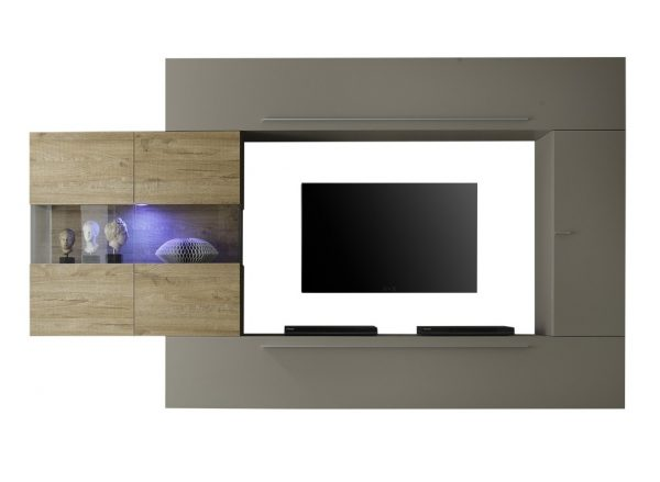 Tv wandmeubel set Astrit - Mat Beige met eiken