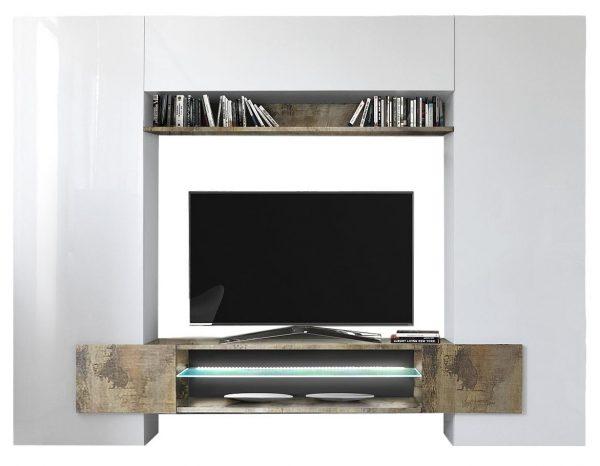 Tv Wandmeubel set Incastro 191 cm hoog - Hoogglans wit met eiken