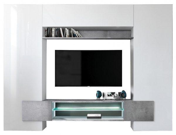 Tv Wandmeubel set Incastro 191 cm hoog - Hoogglans wit met grijs beton