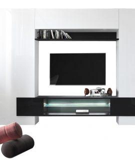 Tv Wandmeubel Set Incastro 191 Cm Hoog – Hoogglans Wit Met Zwart