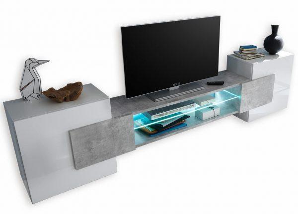 Tv meubel Incastro 61 cm hoog - Hoogglans wit met grijs beton