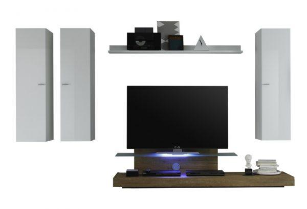 Tv wandmeubel set Lunix - Hoogglans wit met Eiken