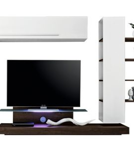 Tv Wandmeubel Set Pritty – Hoogglans Wit Met Wenge Eiken