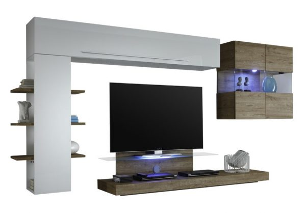 Tv wandmeubel set Wimex - Hoogglans wit met Eiken
