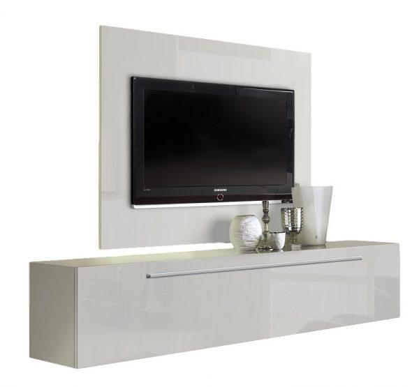 Zwevend Tv meubel Tosia 210 cm Hoogglans wit