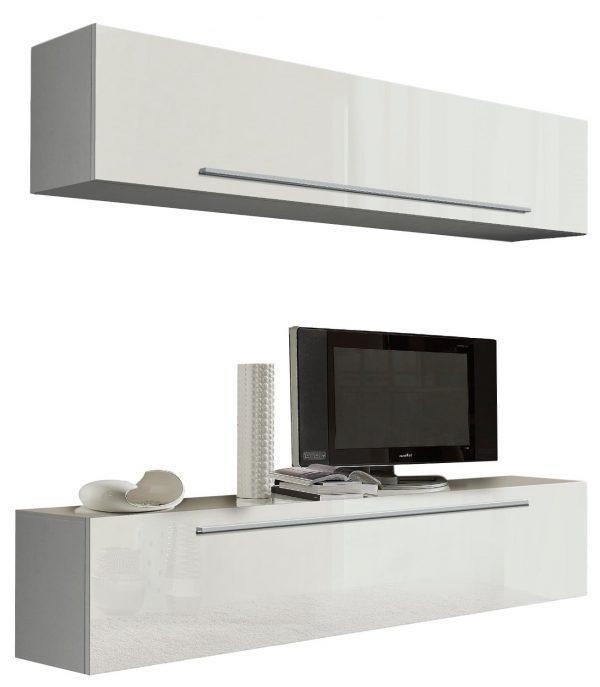 Zwevend Tv meubel Toya 210 cm Hoogglans wit