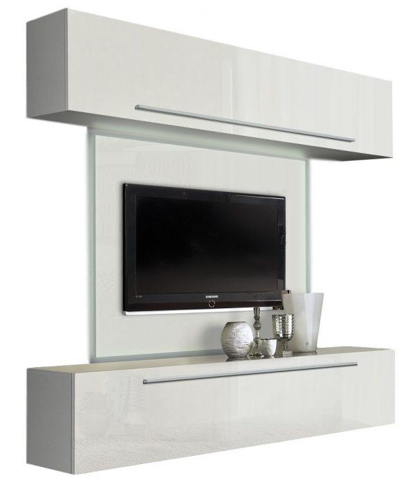 Tv wandmeubel Tresa 210 cm Hoogglans wit