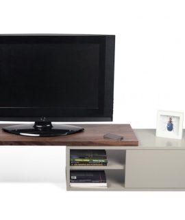 TemaHome Uitschuifbaar TV Meubel Move – 110/203x35x32 – Mat Grijs – Walnoot