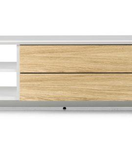 Tenzo TV-Meubel Profil – 150x47x44 – Mat Wit – Eiken