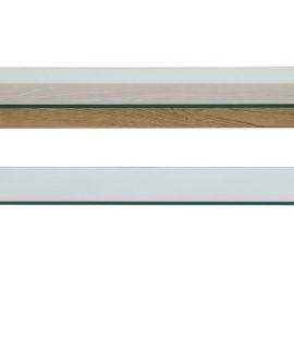 24Designs TV-Meubel Alvar – L160 X B45 X H50 Cm – Glazen Tafelblad – Eikenhouten Poten