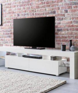 24Designs Fedor TV Meubel 2-Laden 189x35x45 – Hoogglans Wit
