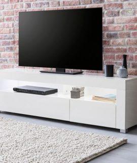 24Designs Fedor TV Meubel 1-Klepdeur 155x40x46 – Hoogglans Wit